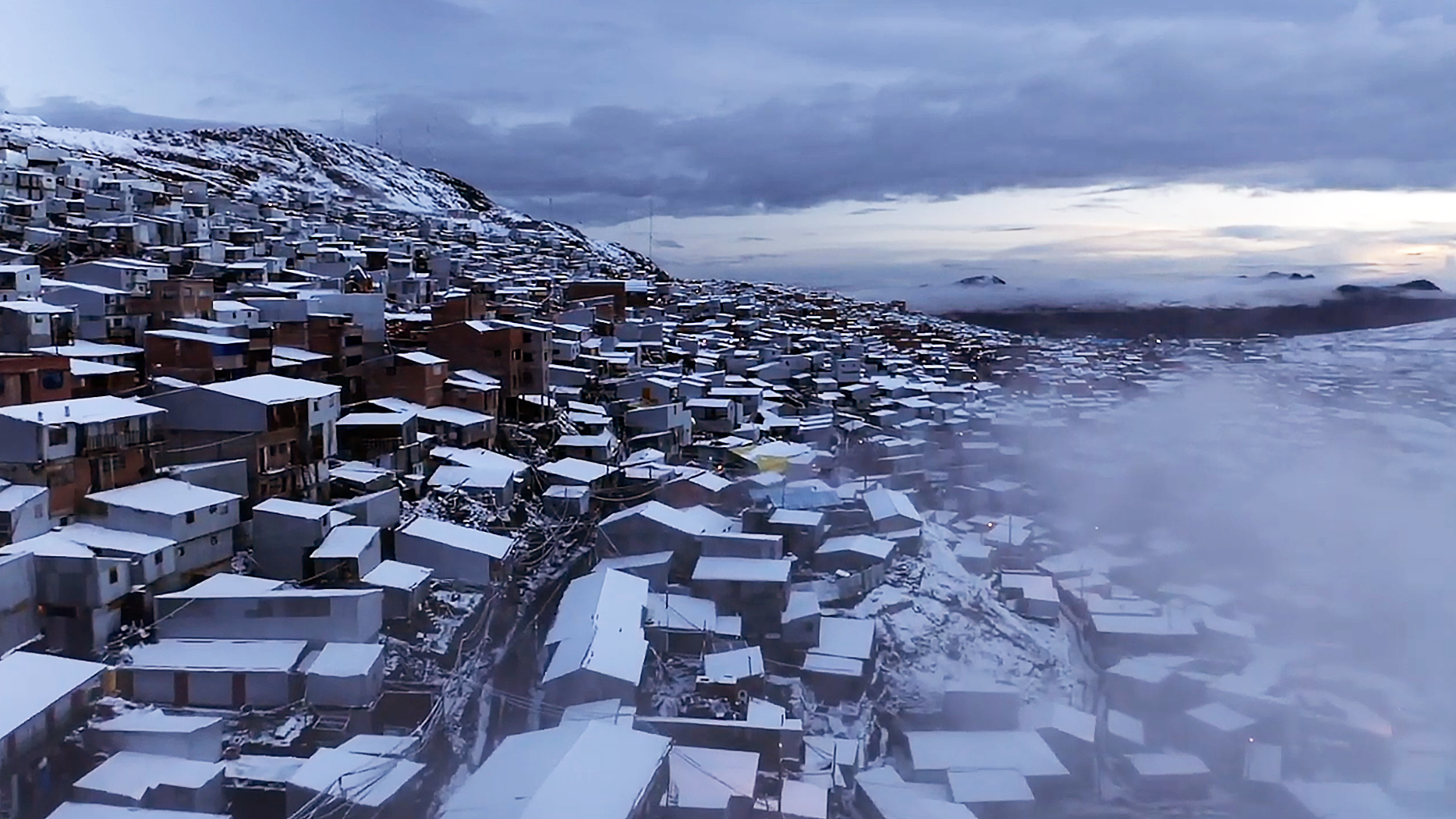 Aerial view of the world's highest permanent city
