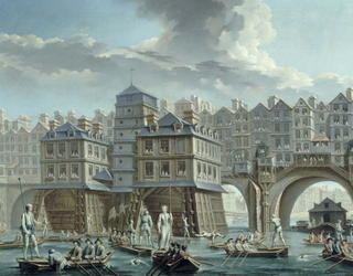 Painting of 18th century Paris with bridges built up with houses.