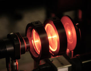 Optical equipment in a lab setting