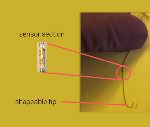 Clotild, the connected device created by the startup Sensome, has a miniaturized sensor (circled in red on the picture) that lets the surgeon adapt his gestures to each situation. SENSOME