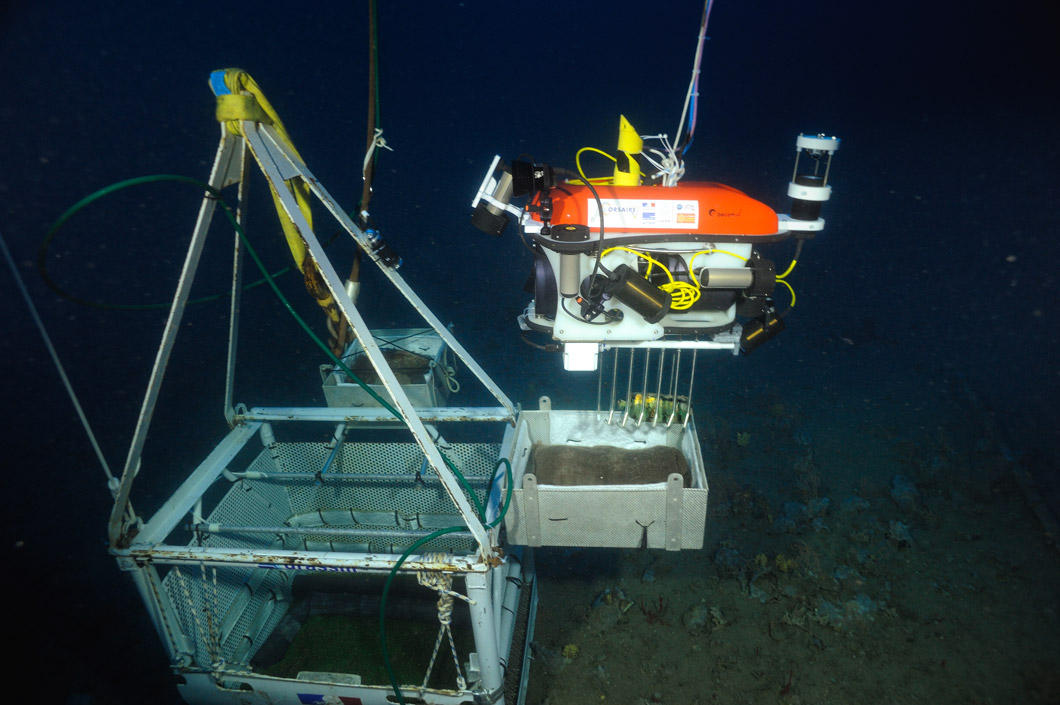 A robot places an object in a case deep underwater.