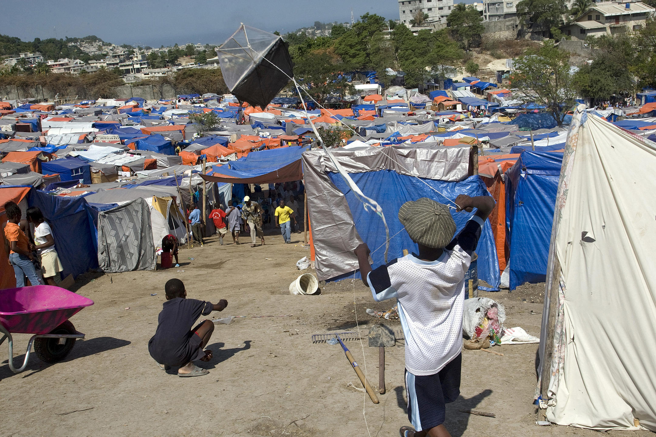 Camp de déplacés à Haïti