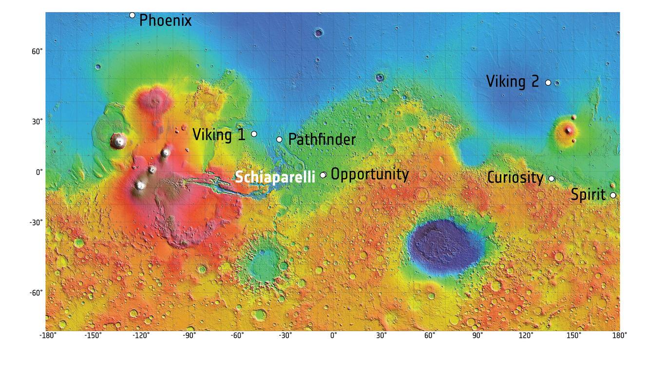 Landing sites on Mars