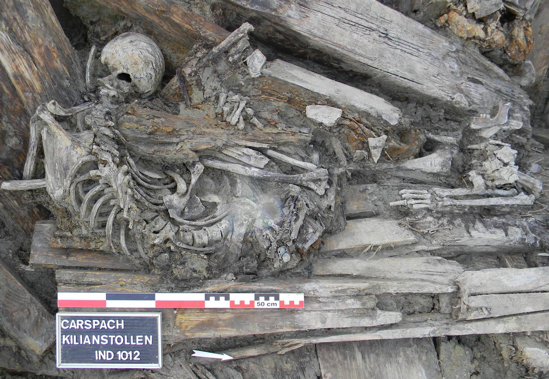 Squelette d'un soldat retrouvé dans le Kilianstollen.