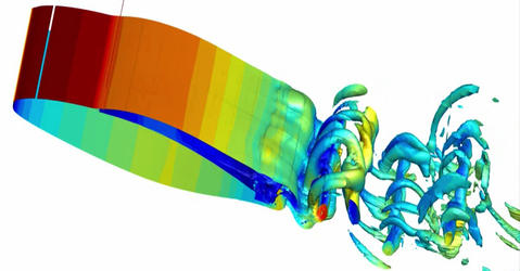 Airflow simulation on an aircraft wing