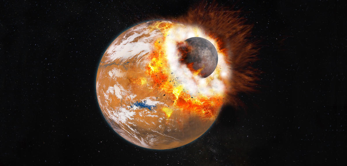Artist's impression of the giant impact that would have given birth to Phobos and Deimos. The colliding object is about 1/3 the size of Mars—which at the time may have had a thicker atmosphere and water on its surface.